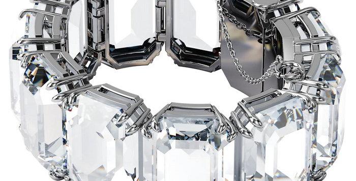 Swarovski armbånd Millenia bracelet Octagon cut crystals, white, rhodium plated