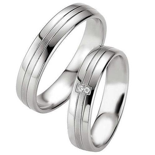 Forlovelsesringer i sølv, 5 mm. SØLV MED DIAMANT