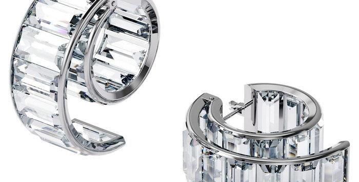 Swarovski øredobber Matrix earrings White, Rhodium plated