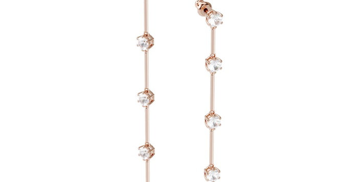 Swarovski øredobber Constella earrings Asymmetrical, White, Rose-gold tone