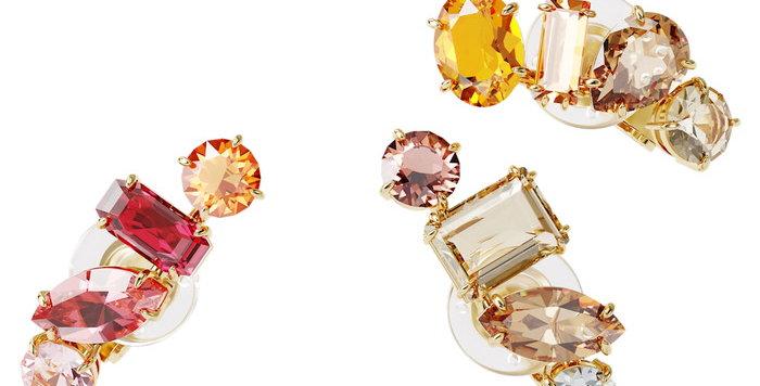 Swarovski øredobber Gema clip earring Single, Set, White, Gold-tone plated