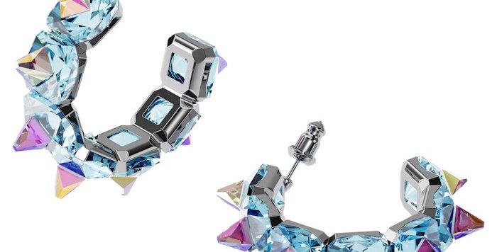 Swarovski øredobber Chroma hoop earrings Blue, rhodium plated