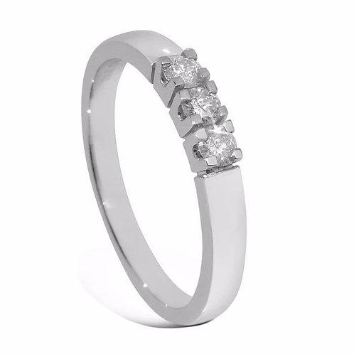 Diamantring forlovelsesring Iselin 3x0,07 ct i 14kt gull