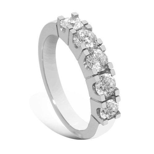 Forlovelsesring diamantring Iselin 5x0,2 ct i 14kt hvitt gull
