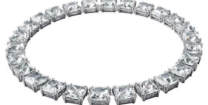Swarovski smykke Millenia necklace Square cut crystals, White, Rhodium plated