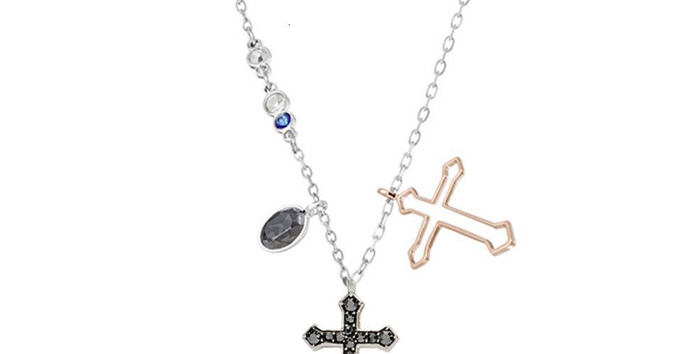 Swarovski smykke Duo Mini Cross, flerfarget