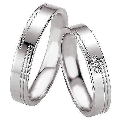 Forlovelsesringer i sølv med 3 diamanter 4,5 mm/2 mm.