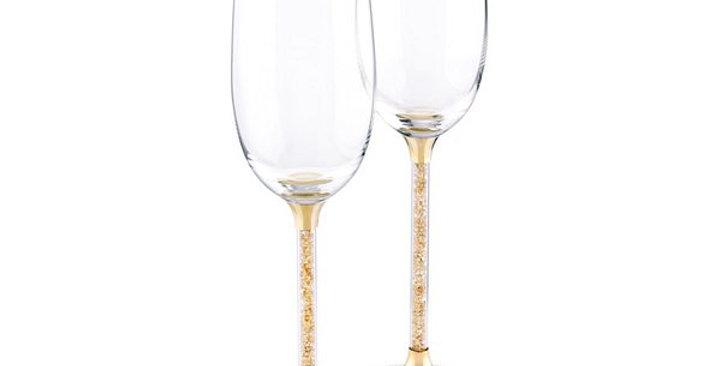 Swarovski glass Crystalline Toasting Flutes , Gold - 5102143