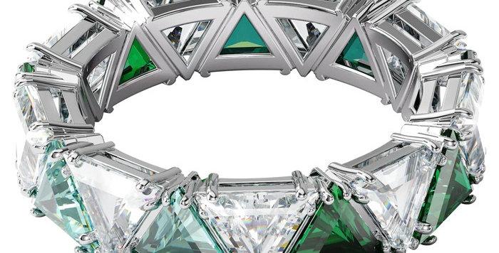 Swarovski  Millenia cocktail ring Triangle cut crystals, Green, Rhodium plated
