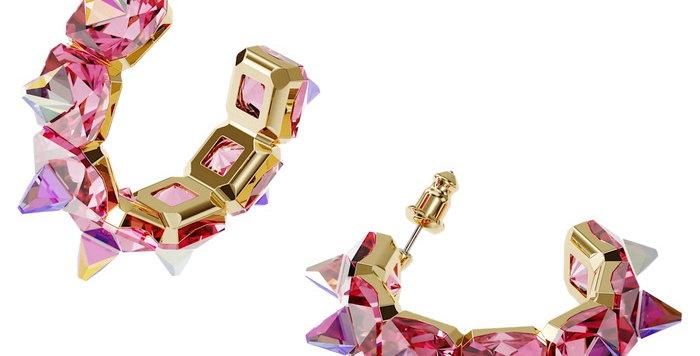 Swarovski øredobber Chroma hoop earrings Pink, Gold-tone plated
