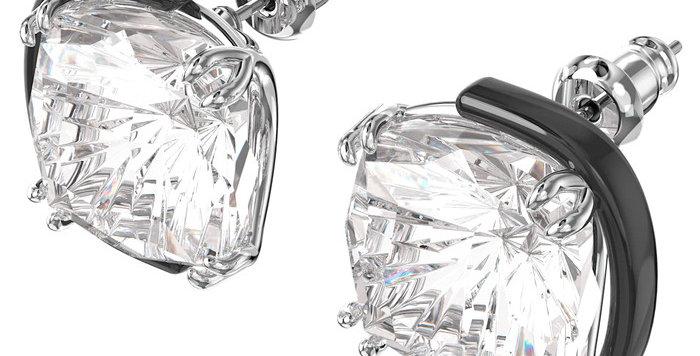 Swarovski øredobber Harmonia earrings Cushion cut crystals, white, mixed metal