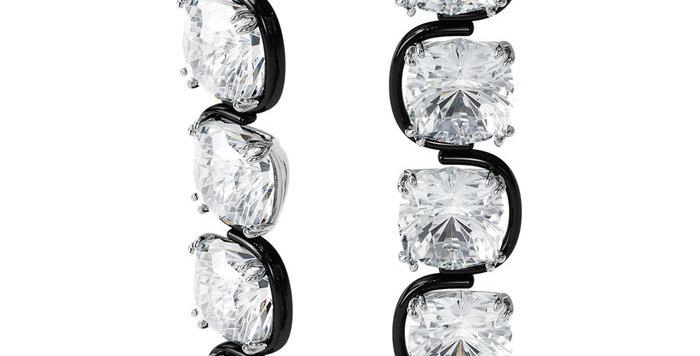 Swarovski øredobber Harmonia drop earrings Cushion cut floating crystals, white