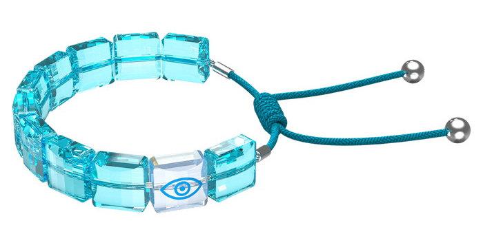 Swarovski armbånd Letra bracelet Evil eye, Blue, Rhodium plated