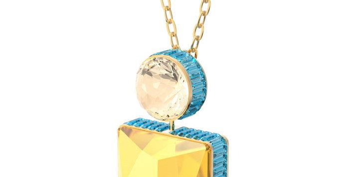 Swarovski smykke Orbita necklace Square cut crystal, White, Gold-tone plated
