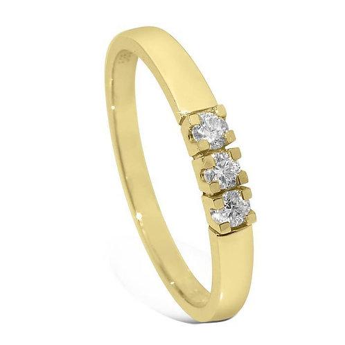 Diamantring forlovelsesring Iselin 3x0,05 ct i 14kt gull