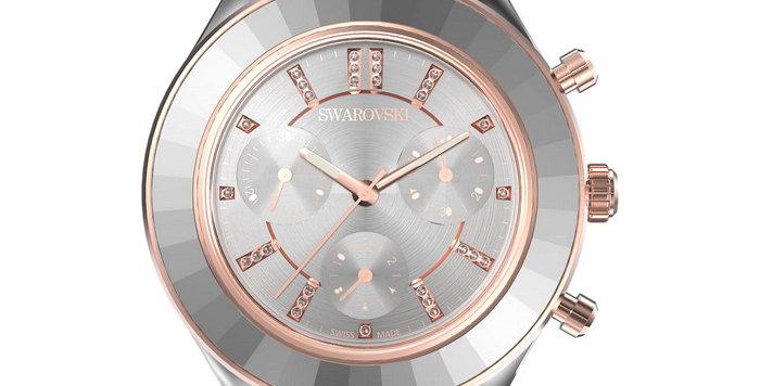 Swarovski klokke Octea Lux Sport watch Metal bracelet, White, Stainless steel