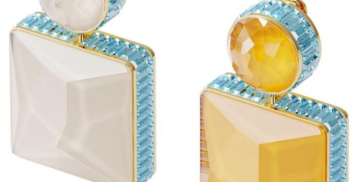 Swarovski øredobber Orbita earrings Asymmetrical, Square cut crystal, multicolor