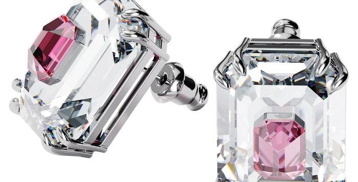 Swarovski øredobber Chroma earrings pink, rhodium plated