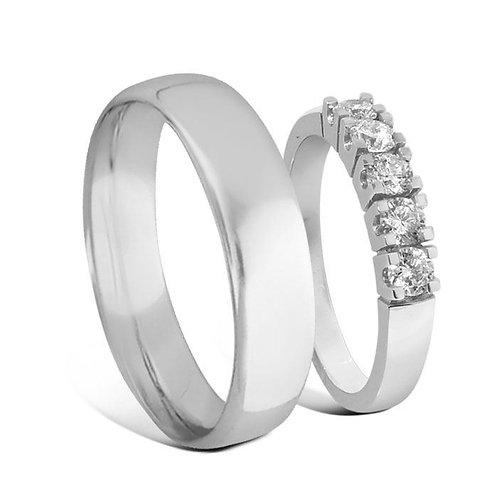 Giftering & diamantring Iselin 0,50ct hvitt gull 14k, 3 mm
