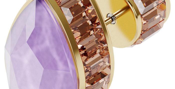 Swarovski øredobber Orbita earring Single, Drop cut crystal, multicolored, gold