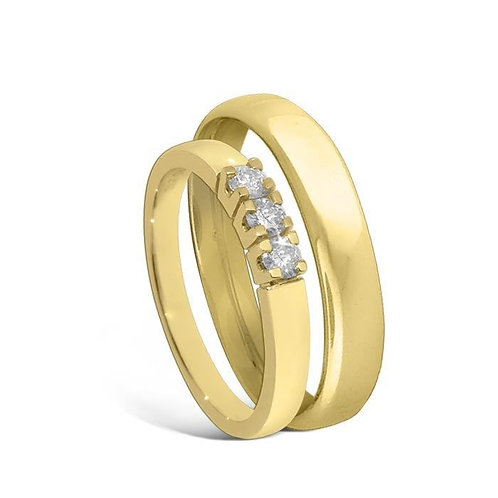 Giftering & diamantring Iselin 0,21ct gult gull, 4 mm