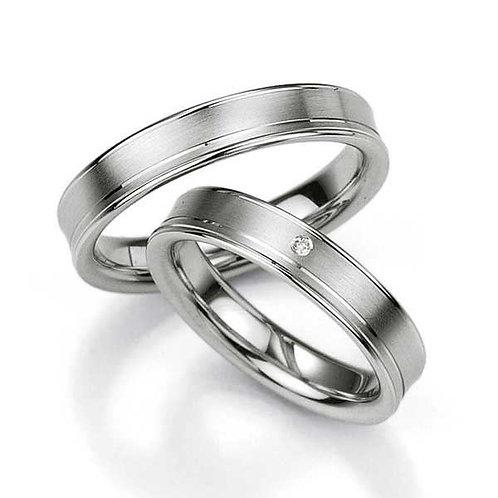 Forlovelsesringer i sølv, 4,5 mm. SØLV MED DIAMANT