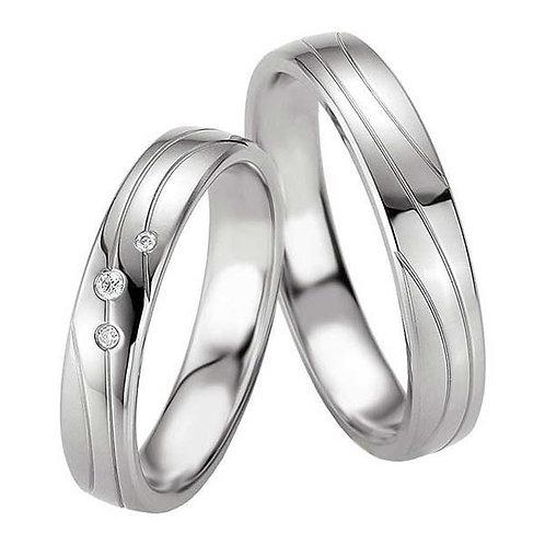 Forlovelsesringer i sølv med 3 diamanter 4,5 mm/2mm