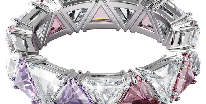 Swarovski Millenia cocktail ring Triangle cut crystals, Purple, Rhodium plated
