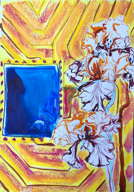 Irises with Blue Window