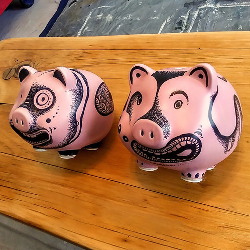 SOLD - Inked Pink Pigs