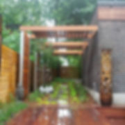 completed Ipe and galvanized steel arbor