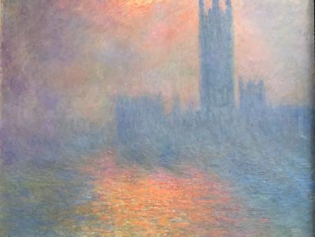 モネ「ロンドン国会議事堂、霧の中に差す陽光」