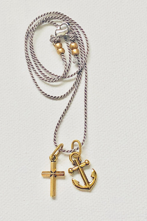 Faith & Hope Anchor Necklace-Antiqued Gold