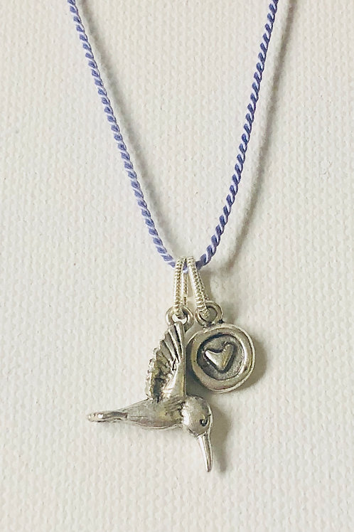 Hope & Love Hummingbird Necklace-Antiqued Silver