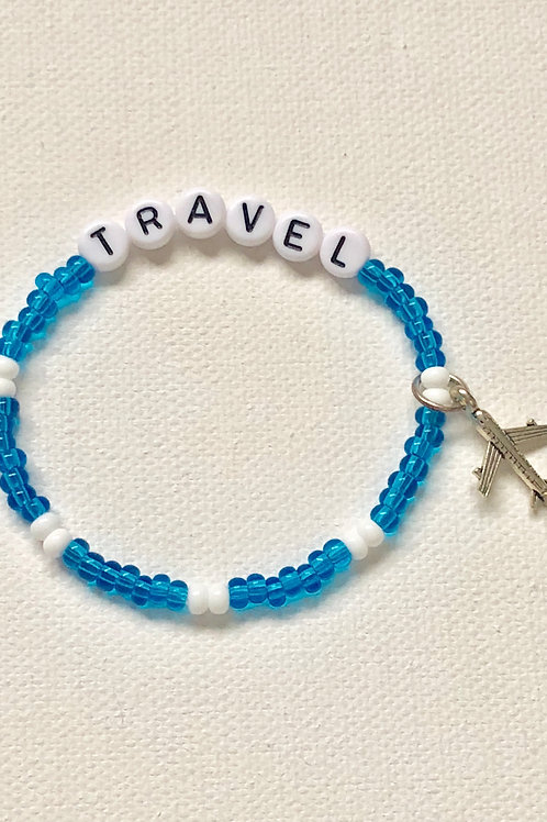 ✈️ TRAVEL COLLECTION-Bubble Letter Word Bracelet + Charm