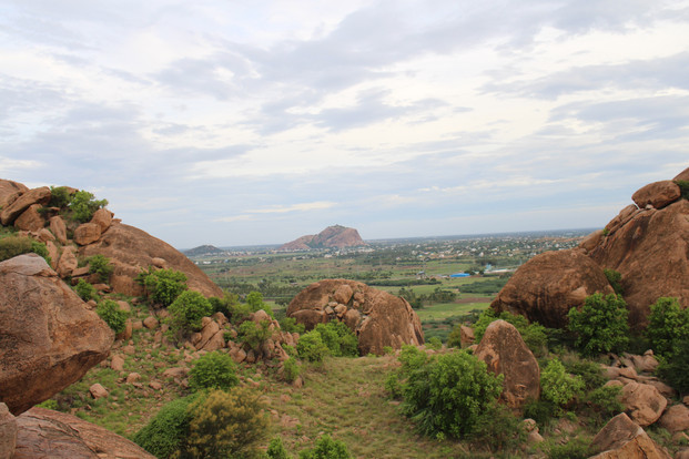 View of Tiruparankundram from Rock Shelter