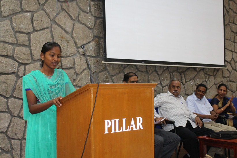"""""""...I profited immensly ...."""" -  Maheswari, a participant from Govt. School"""