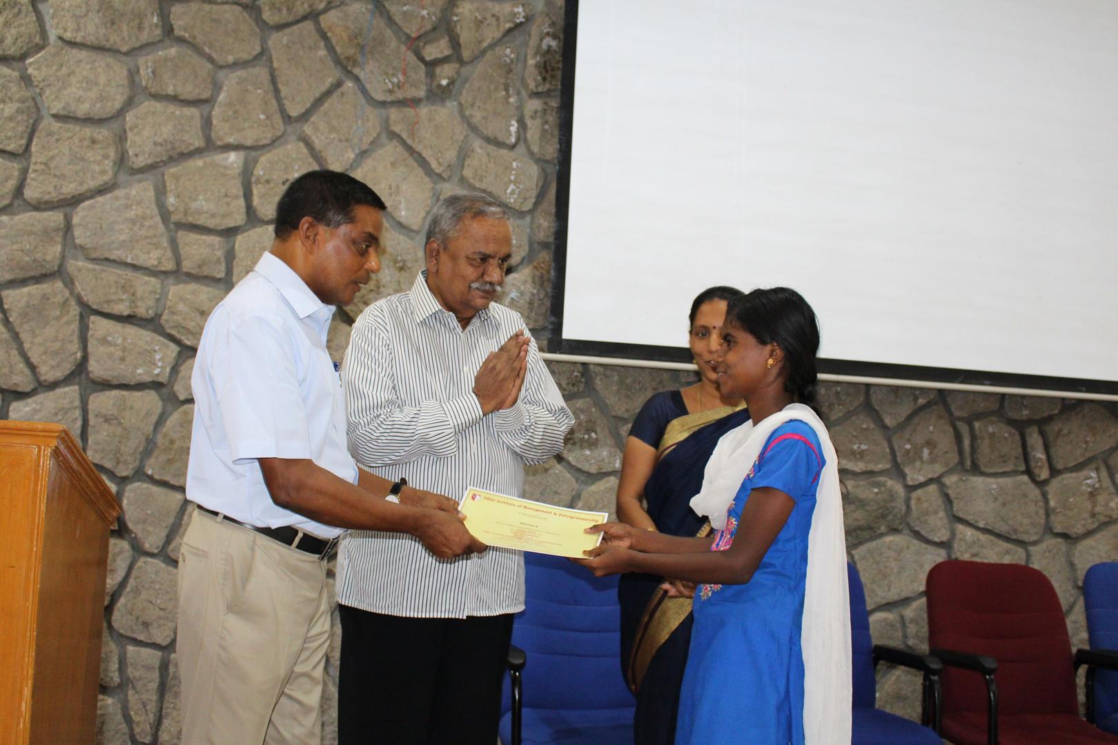 receiving a certificate