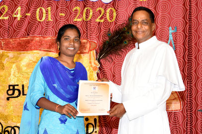 Ms. Siva Priya being awarded the Maria-Berthold Decker prize for her outstanding performance in the Higher Secondary public examination held in March 2019