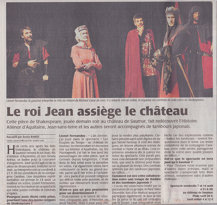Le Roi Jean de Shakespeare - article de presse Courrier de L'Ouest 2015
