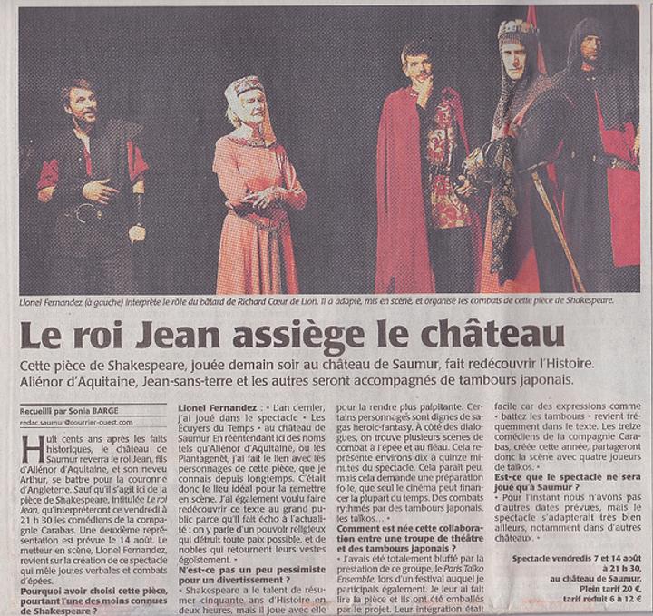 Le Roi Jean de Shakespeare - article de presse Courrier de L'Ouest 2015