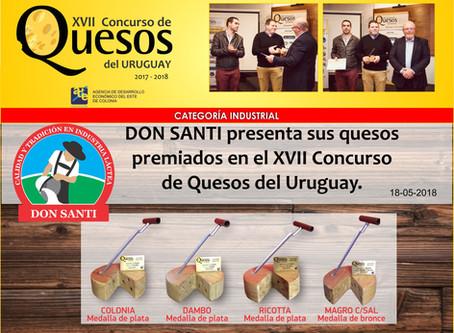 Don Santi presenta sus quesos premia dos en el XVII Concurso de Quesos del Uruguay 2017/2018
