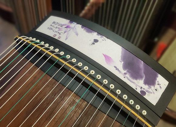 Guzheng mini 1m25 loại cao cấp âm thanh hay hoạ tiết hoa sen tím