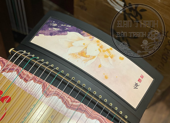 Guzheng ( cổ trang) fullsize 1m63 hoạ tiết sen vàng kết hợp tông tím thơ mộng