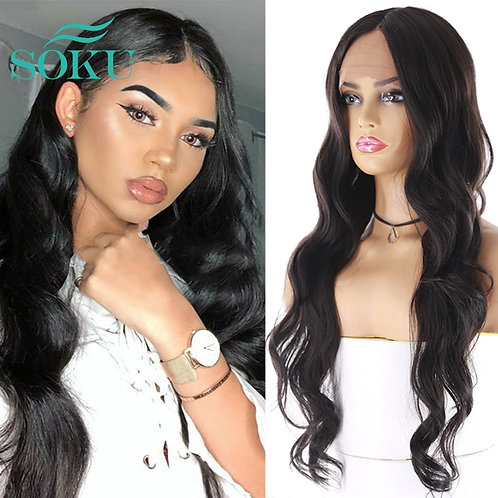 Black Color Hair Wigs SOKU Middle Part Heat Resistant Swiss Lace Wig for Black