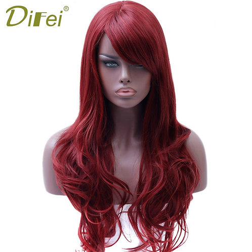 DIFEI Long  Red Wig Wavy Synthetic Wig for Black Women Side Part Heat Resistant