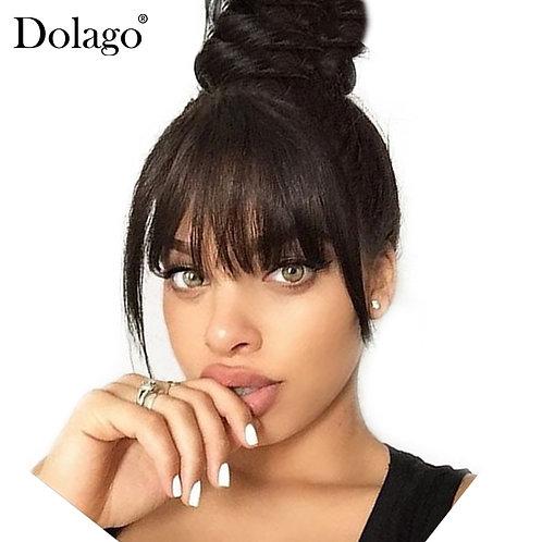 Brazilian Human Hair Blunt Bangs Clip in Human Hair Extension Natural Black Dola