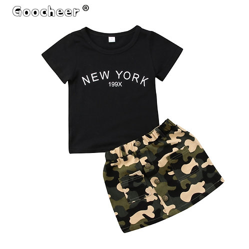 2 Pieces Toddler Kids Clothes Set Baby Girl Outfits Black Short Sleeve T Shirt