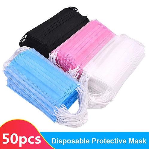 50Pcs Disposable Sanitary Mask 3-Plys Nonwoven Anti-Dust Mask Anti-Spray