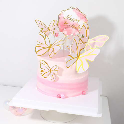 Butterfly Wedding Cake Topper Cute Geometric Pink Gold  Happy Birthday Cupcake
